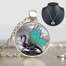 Vintage CABOCHON Dragon Glass Pendant Silver Tone Chain Necklace Fashion Jewelry