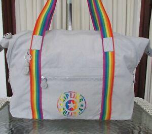 Kipling Art M Rainbow Tote Travel Duffle Bag Weekender Curiosity Gray WT
