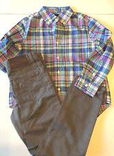 New Polo Ralph Lauren Boy's Sz 5 Outfit Dungaree Pants Plaid Shirt Button Gray