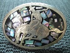 RODEO COWBOY ABALONE INLAID BELT BUCKLE! VINTAGE! RARE! HANDMADE! MEXICO! LOOK!