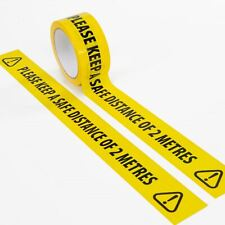 More details for social distancing floor tape yellow hazard safe distance 2 metres 33 meters