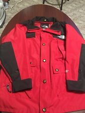 Vintage The North Face 90's Red Goretex Mens Full Zip Button Rain Jacket Small S