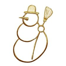 ID 8026 Snowman Outline Winter Decoration Embroidered Iron On Applique Patch