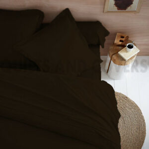 300TC 100% Egyptian Cotton Duvet Cover With 2 Pillowcases Super King Choc Brown