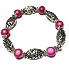Pink Stretch Bracelet Beaded Bangle Miracle Bead Tibetan Silver Style