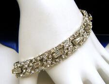 Vintage Signed Coro Art Deco Revival Rhinestone Bracelet Silver Tone Baguettes