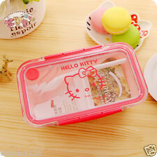 New Hello Kitty Microwave Safe Divided Bento Lunch Box Fork Pink HT41