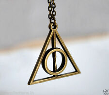 New Harry Potter Deathly Hallows Triangle Pendant Necklace Bronze Pendant Chain