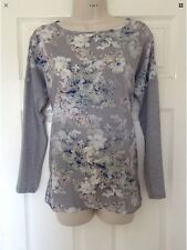 M&S Per Una Grey Floral Print Top, Jersey Back, Long Sleeve, Summer / Everyday