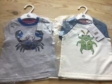 2x BNWT Baby/Toddler 12-18 months Short Sleeve T-shirts Cute Bug & Crab Design