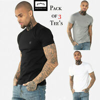 883 Police Mens Three 3 Pack Designer Cotton Crew Neck Slim Fit T Shirt Tee Top
