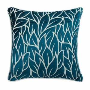 "Luxury Velvet Throw Pillow 18""x18"" Teal Blue, Floarl Leaf - Teal Blue Spruce"