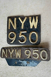 FRONT & REAR 1953 pair of VINTAGE MOPED NUMBER PLATES NYW 950
