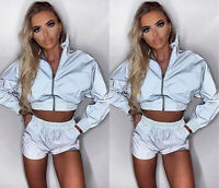 Women Blazer Reflective Coat clubwear Long Sleeve Casual Jacket Outwear Crop Top