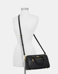 Coach Leather Rowan Barrel Satchel Black Handbag