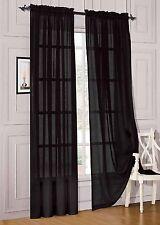"2 Piece Solid Black Sheer Window Curtains/drape/panels/treatment 54""w X 84"""