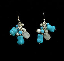 END OF LINE. STERLING SILVER CLUSTER DROP EARRING. TURQUOISE & PEARL.  SUMMERY!
