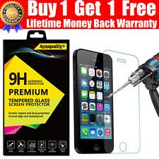 100% GENUINE TEMPERED GLASS SCREEN PROTECTOR PROTECTION FOR APPLE iPhone 5 5S 5C