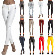 Womens Faux Leather Trousers Wet Look Skinny Slim Jeans Candy Color Size UK 6-16