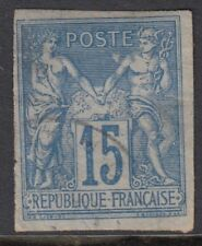 FRENCH COLONIES :1879 Peace & Commerce imperforate 15c blue/pale blue SG41 used