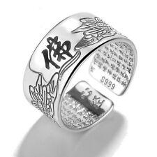 Creative Retro Buddha Ring Chinese Characters Buddhist ornaments Opening Ring
