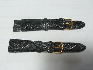 lot de 2 Bracelet montre en cuir noir 16 mm ancien stock vintage