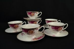 Tea Set With Rose Pattern. 6 Cups And 6 Saucers. Fine Bone China.