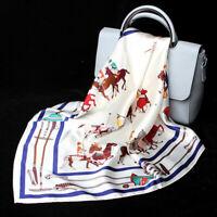 100% Silk Women's Vintage Horse Print Small Scarf Stewardess Kerchief Tied 53cm