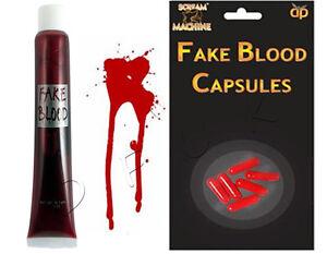 HALLOWEEN FAKE BLOOD TUBE & PILLS CAPSULES VAMPIRE PRANK  FANCY PARTY DRESS