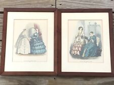 Godeys Fashions Antique Vintage Framed 1853,1857 Colored Fashion Prints Lot of 2
