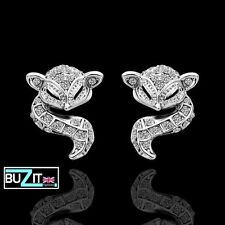 Ladies Gold Plated Fox Stud Earrings with Cubic Zirconia