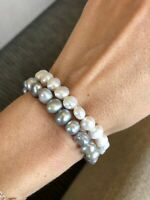 Barock  Perle Armband, 10-11mm weiß & grau Süßwasser Perle Stretch-Armband