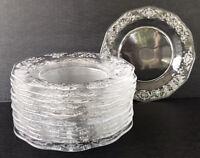 """Vintage Fostoria Navarre Salad Plates 7 1/4"""" Set Of 12 Etched Elegant Glass"""