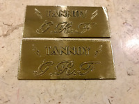 TANNOY GRF Engrave BADGES ONE PAIR Custom Made  BRASS VINTAGE LOOK TANNOY