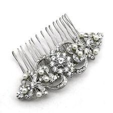 de luxe femme argent avec ivoire perles et transparent strass Peigne à cheveux