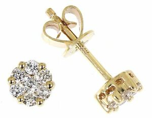 Solid 14K Yellow Gold 0.36CT Real Natural Diamond Tiny Stud Earrings Jewelry