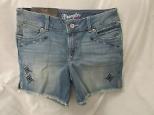 "Ladies ""Wrangler Retro"" Size 7/8, Blue, Mae, Distressed, MId Rise Denim Shorts"