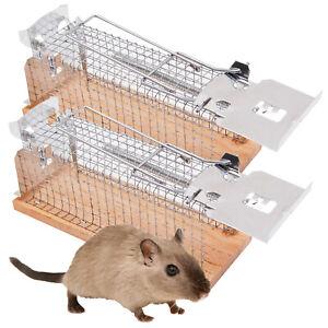 2 x Mausefalle Lebend Mäusefalle Drahtkastenfalle Drahtfalle Lebendfalle Holz