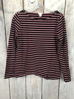 J.CREW Navy/Pink Striped Crew Neck Long Sleeve Top 100% Cotton EUC Women's Size