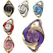 Damen Spangenuhr Armbanduhr Analog Quarz Uhr Armreif Spange