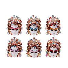 Chinese Traditional Peking Opera Rhinestone Enamel Facial Mask Rings Women New