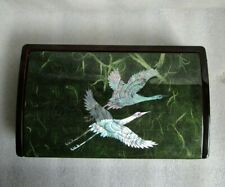 Vintage LACQUER Box KOREAN EXPORT w CRANES HERONS Mother of Pearl Inlay NICE!