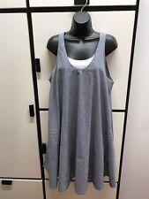Veritecoeur Japan OS Cotton Midnight Blue Combo Gingham Check U Neck Tank Dress