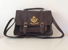 Amavel Japanese Fashion Kawaii Brown Faux Leather Satchel Briefcase Bag Backpack
