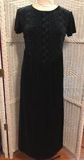 Coldwater Creek Green Polyester Velvet long dress women's 4 Loose fit EUC
