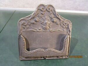 Vintage Brass Business Card Holder w/Easel Stand