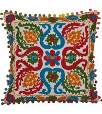 Embroidered Sofa Pillow Cases 16x16 Square Suzani Throw Cushion Cover Home Decor