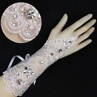 33g Bridal Wedding Prom Rhinestone Flower Accent White Lace Fingerless Gloves