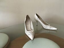 Ladies LEATHER Cutout Bow Italy Shoes Size 7.5