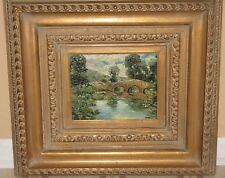 ~Original Oil Landscape Bridge Painting Signed Wendy Antique Looking Frame~